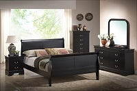 Louis Phillip Black Bedroom Set