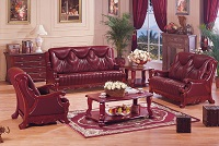 Chestnut Leather Sofa Set