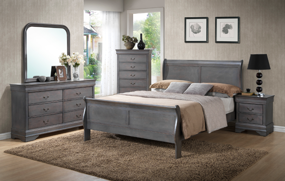 Louis phillip grey bedroom set furtado furniture for Gray bedroom furniture sets