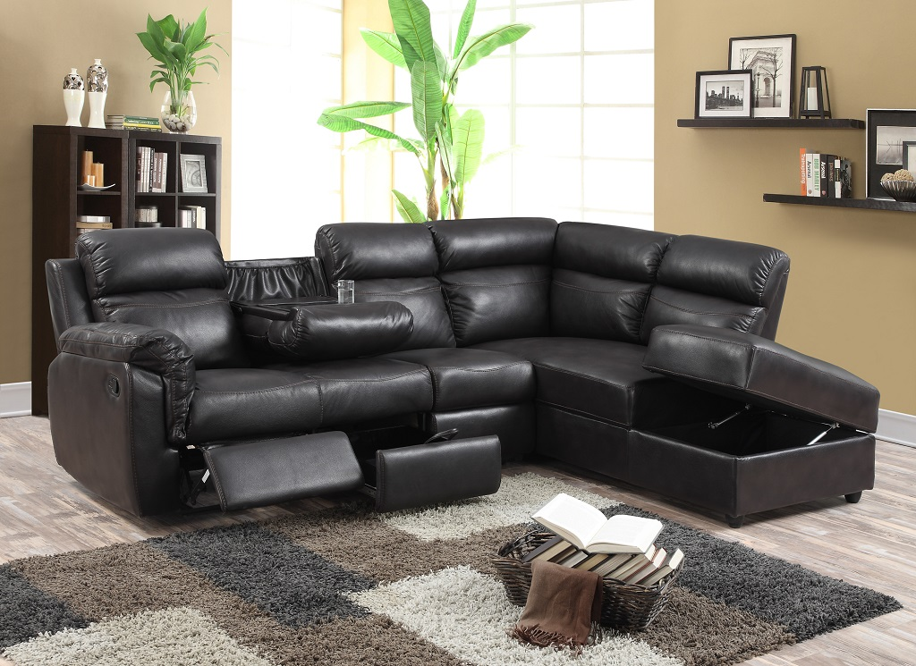 Paula recliner leather sectional furtado furniture for Sectional sofas with 4 recliners