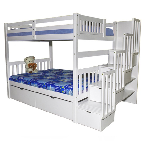 SCA Milan Full over Full Bunk Bed White Furtado Furniture
