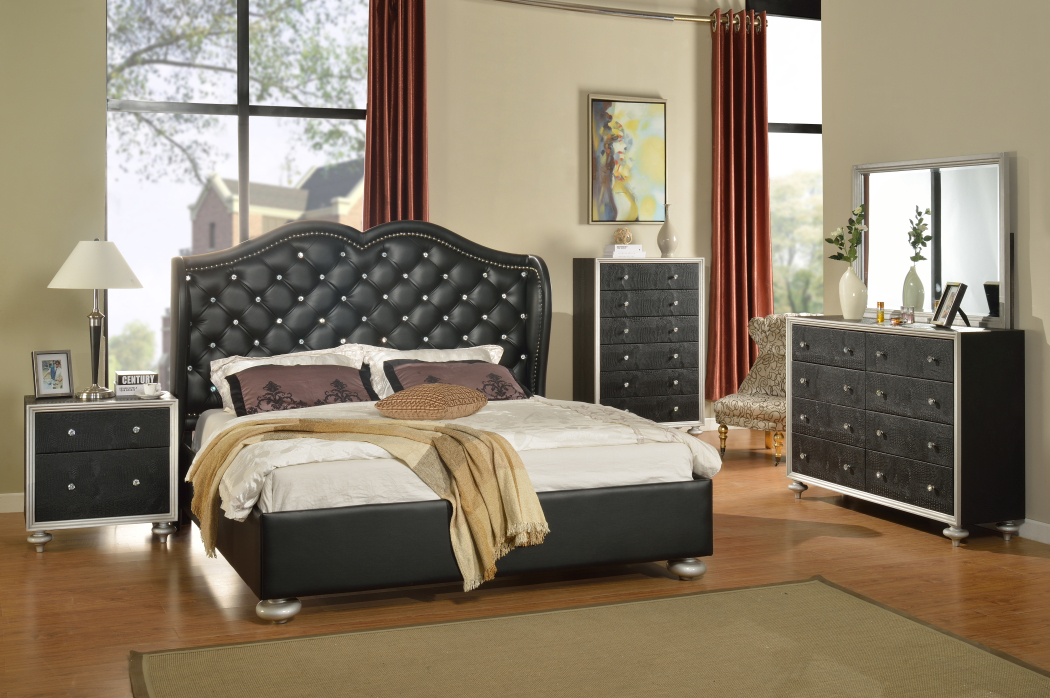 hollywood black bedroom set furtado furniture
