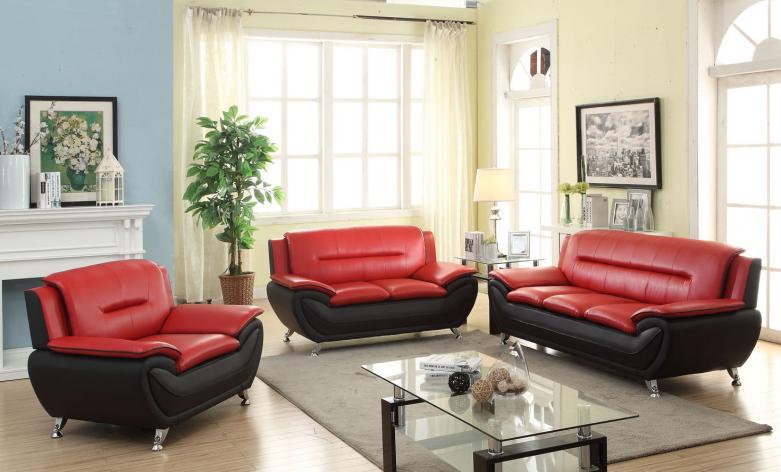 Meg 3350 Red Leather Sofa Set Furtado Furniture