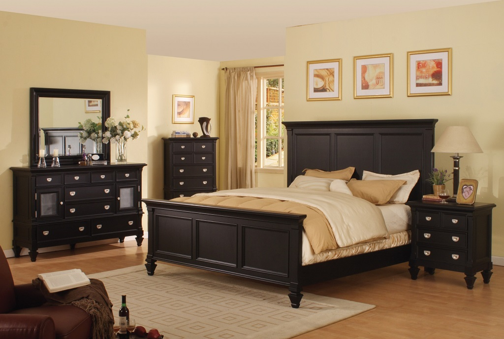 Adelaide black bedroom set furtado furniture for Ways to set up a small bedroom