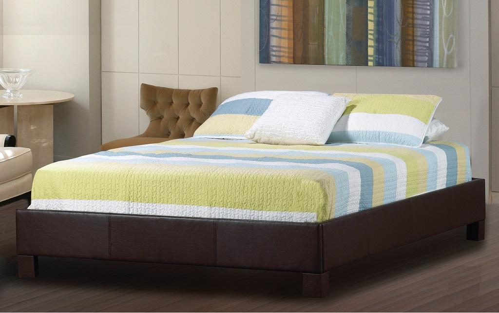 R190 Upholstered Leather Platform Bed