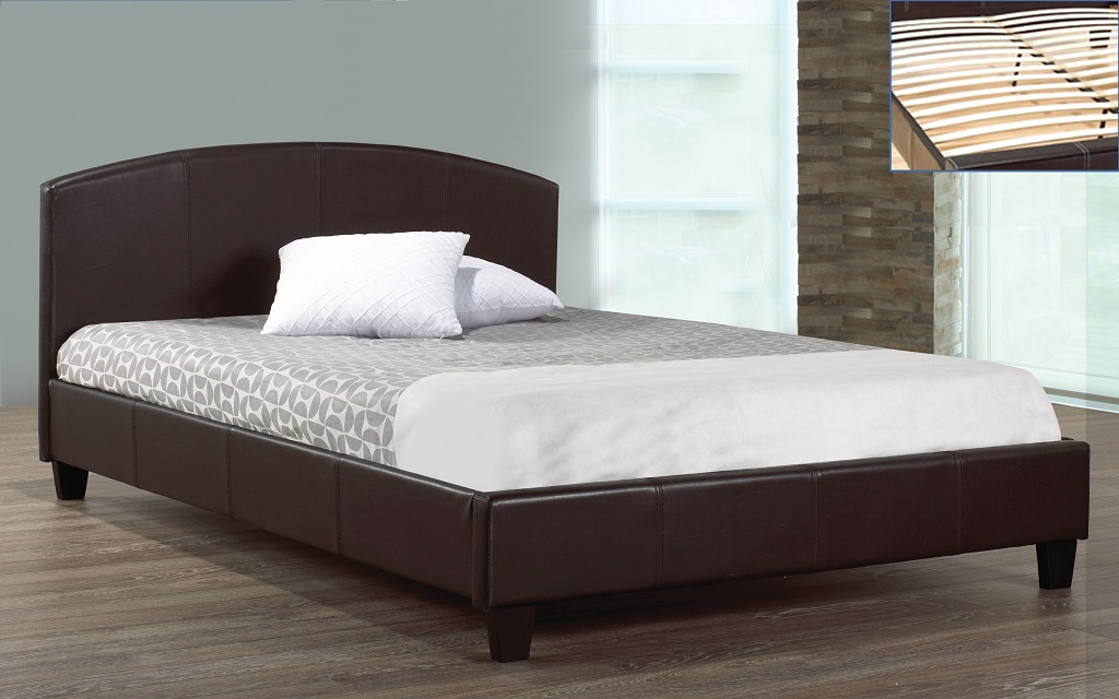 R2350 Upholstered Black Leather Bed