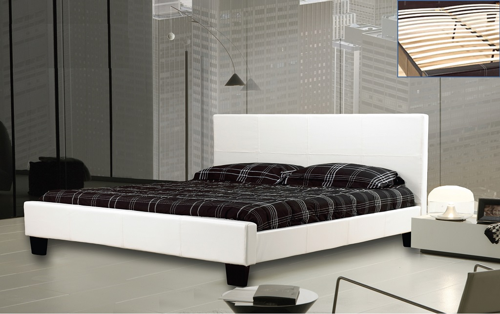 R2361 Upholstered White Leather Bed