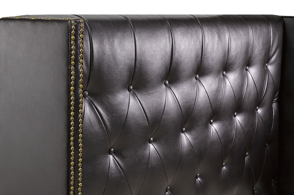 R166 Black Leather Bed Headboard