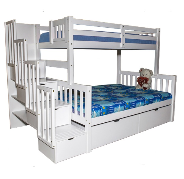 Flamingo Stairway Twin over Full Bunk Bed White