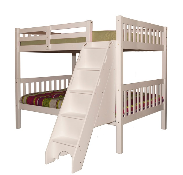 Milan Full over Full Bunk Bed with Stairs White