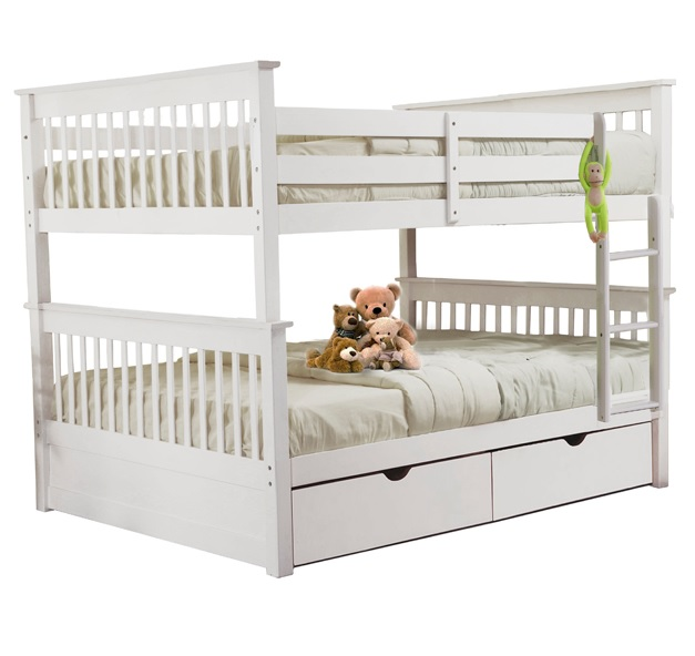 SCAMilan Full over Full Bunk Bed White Furtado Furniture