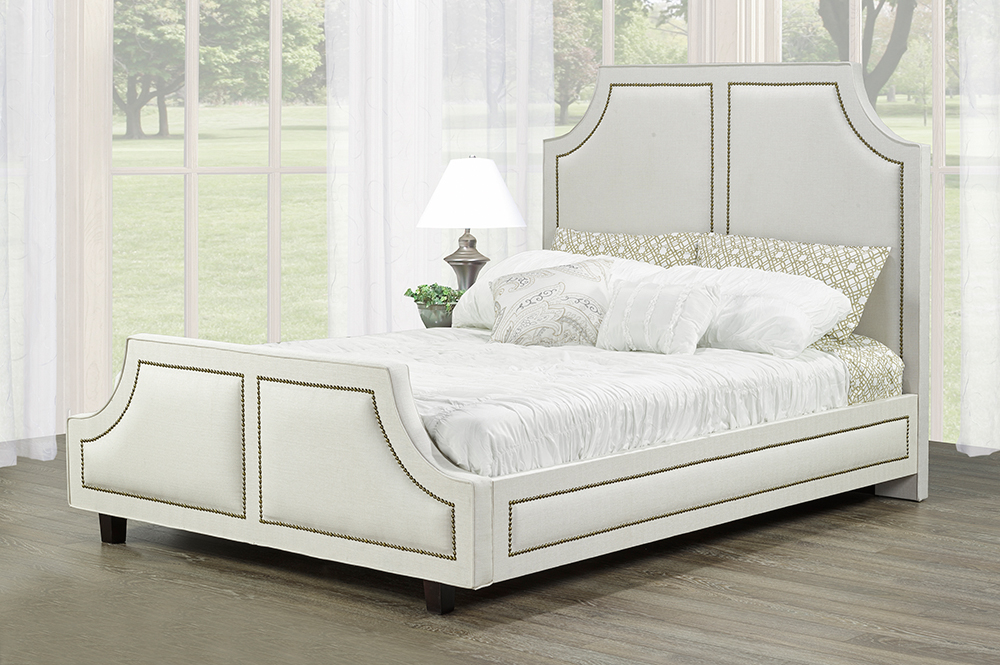 R185 Upholstered Bed White