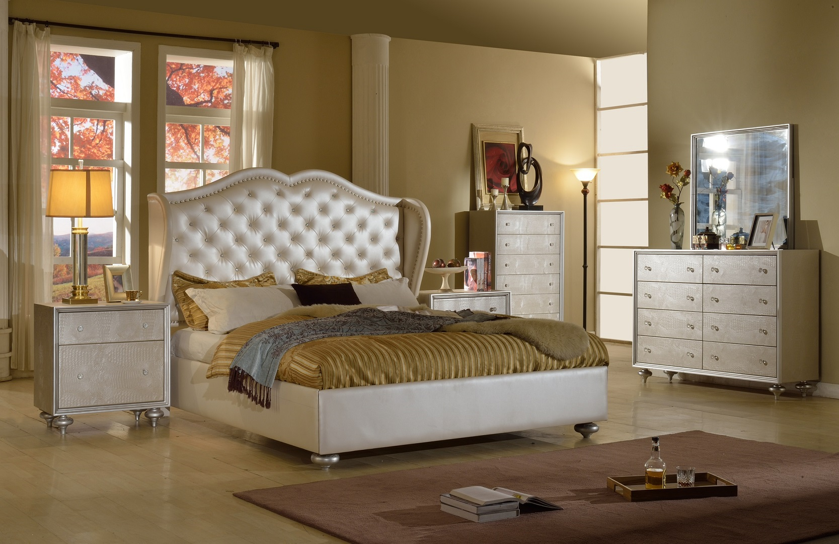 Hollywood White Bedroom Set