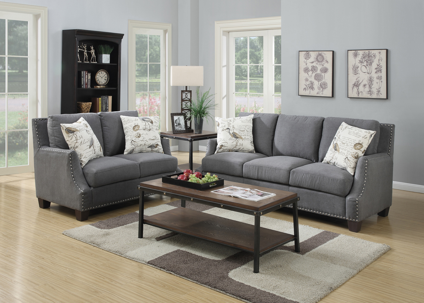 August Fabric Sofa Set