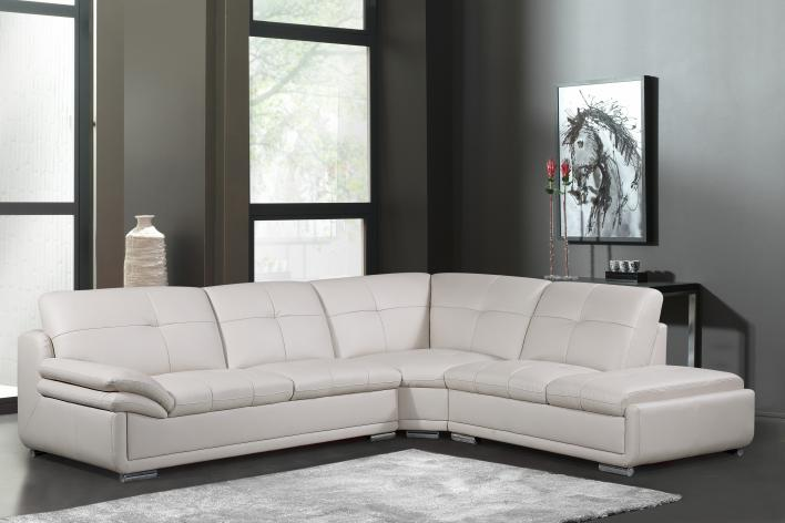 MEG-3845-Beige Leather Sectional