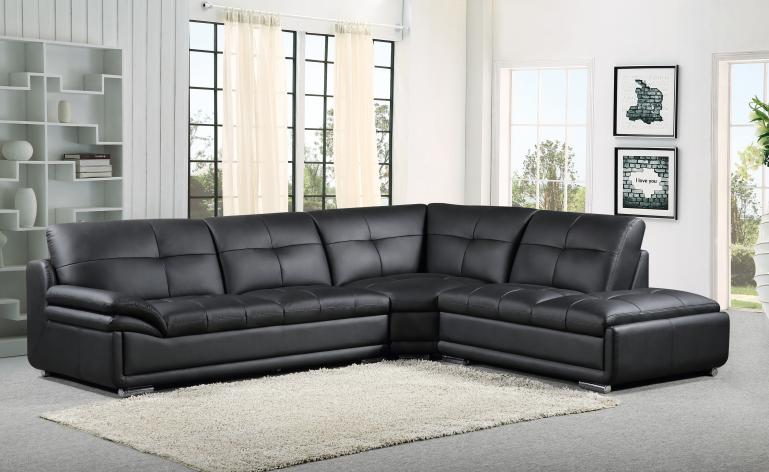 MEG 3845 Black Leather Sectional