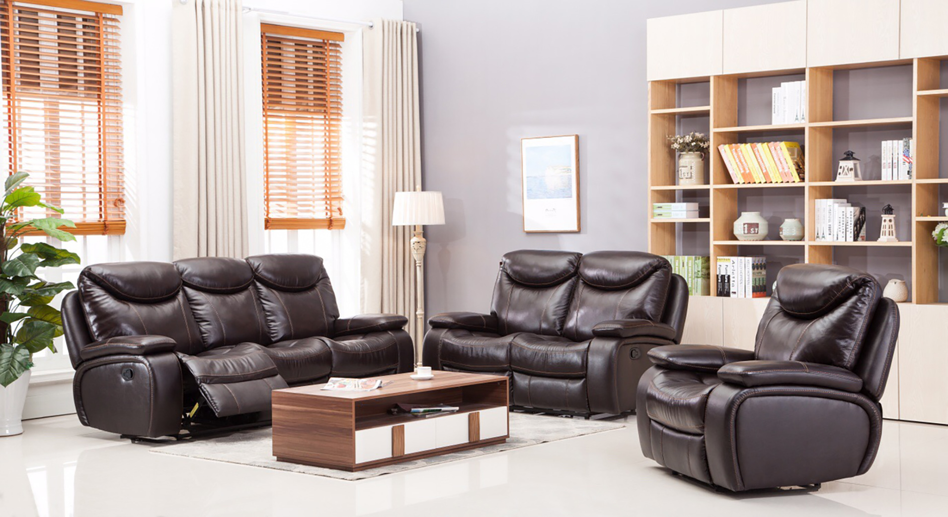 Dallas Recliner Leather Sofa Set Furtado Furniture