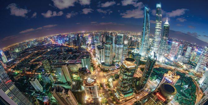 Fisheye view of Shanghai Skyline Sunset