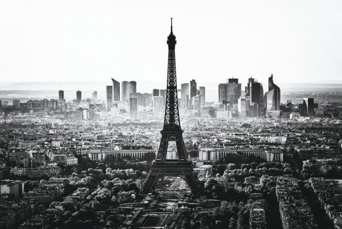 Skyline of Paris in black and white
